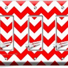 RED CHEVRON ZIG ZAG PATTERN TRIPLE GFI LIGHT SWITCH WALL PLATE COVER HOME DECOR
