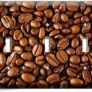 FRENCH ROAST COFFEE HOUSE BEANS TRIPLE LIGHT SWITCH WALL PLATE COVER HOME DECOR
