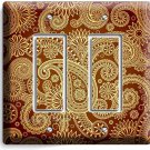 DAMASK PAISLEY PATTERN DOUBLE GFCI LIGHT SWITCH WALL PLATE COVER LIVING ROOM ART