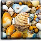 SEA SHELLS BEACH STONES DOUBLE LIGHT SWITCH WALL PLATE BATHROOM SUMMER HOUSE ART