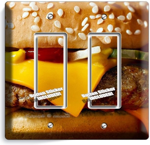 CHEESEBURGER BEEF BURGER DOUBLE GFCI LIGHT SWITCH WALL PLATE COVER KITCHEN DECOR
