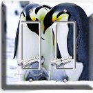 KING PENGUINS COUPLE BABY DOUBLE GFCI LIGHT SWITCH WALL PLATE COVER ROOM DECOR