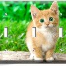CUTE GREEN EYES KITTEN KITTY CAT TRIPLE LIGHT SWITCH WALL PLATE COVER  ROOM ART