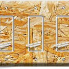 RUSTIC ROUGH PLYWOOD WOOD DESIGN TRIPLE GFI LIGHT SWITCH WALL PLATE KITCHEN ROOM