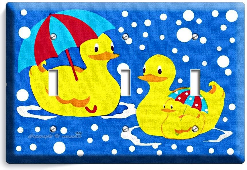 RUBBER DUCK SWIMMING UMBRELLA DUCK TRIPLE LIGHT SWITCH WALL PLATE COVER BATHROOM