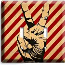 PEACE SIGN VICTORY HAND FINGERS DOUBLE LIGHT SWITCH WALL PLATE COVER ROOM DECOR