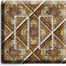 TUSCAN KITCHEN TILE PATTERN PRINT DOUBLE GFCI LIGHT SWITCH WALL PLATE ART COVER