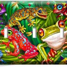 CUTE EXOTIC RAINFOREST TROPICAL TREE FROGS TRIPLE LIGHT SWITCH WALL PLATE COVER