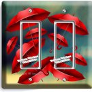 ROMANTIC RED UMBRELLAS RAINY DAY DOUBLE GFCI LIGHT SWITCH WALL PLATE COVER DECOR