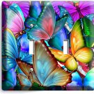 COLORFUL BUTTERFLIES DOUBLE LIGHT SWITCH WALL PLATE BABY ROOM NURSERY ART DECOR