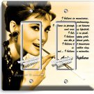 AUDREY HEPBURN BREAKFAST AT TIFFANY'S GFCI DOUBLE LIGHT SWITCH WALL PLATE DECOR