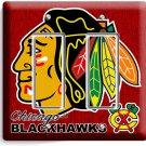 CHICAGO BLACKHAWKS HOCKEY DOUBLE GFCI LIGHT SWITCH PLATE GAME BOYS ROOM GARAGE