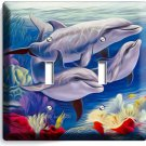 DOLPHINS FAMILY DOUBLE LIGHT SWITCH WALL PLATE COVER LIVING ROOM BEDROOM DECOR