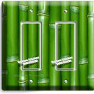 GREEN LUCKY BAMBOO DOUBLE GFCI LIGHT SWITCH WALL PLATE ROOM HOME FENG SHUI DECOR