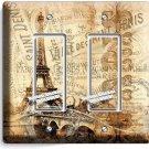 RETRO PARIS EIFFEL TOWER AD DOUBLE GFCI LIGHT SWITCH WALL PLATE COVER HOME DECOR