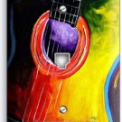 ACOUSTIC GUITAR COLORFUL MODERN ART MUSIC PHONE JACK TELEPHONE WALL PLATE COVER