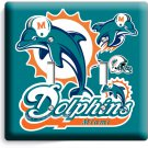 MIAMI DOLPHINS NFL FOOTBALL TEAM LOGOM DOUBLE LIGHT SWITCH WALL PLATE WALL COVER