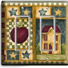 RUSTIC OLD AMERICANA COUNTRY HOUSE DOUBLE GFCI LIGHT SWITCH WALL PLATE ART COVER