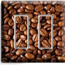FRENCH ROAST COFFEE BEANS DOUBLE GFCI LIGHT SWITCH WALL PLATE COVER HOME DECOR