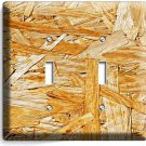 RUSTIC ROUGH PLYWOOD WOOD DESIGN DOUBLE LIGHT SWITCH WALL PLATE KITCHEN ROOM ART