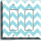 CHEVRON BLUE PASTEL LINES DOUBLE ROCKER LIGHT SWITCH OUTLET WALL PLATE ART COVER