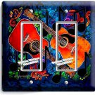 ACOUSTIC GUITARS ABSTRACT MODERN MUSIC DOUBLE GFI LIGHT SWITCH WALL PLATE COVER