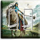 WARRIOR GIRL ON WILD HORSE DOUBLE GFCI LIGHT SWITCH WALL PLATE TEEN BEDROOM ROOM