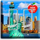NEW YORK CITY STATUE OF LIBERTY DOUBLE GFI LIGHT SWITCH WALL PLATE COVER DECOR