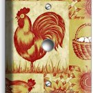 FRENCH FARM ROOSTER HEN CHICKENS EGGS BASKET LIGHT DIMMER CABLE WALL PLATE COVER