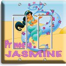 PRINCESS JASMINE HOLDING MAGIC LAMP DISNEY ALADDIN DOUBLE GFI LIGHT SWITCH PLATE