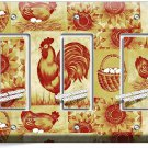 FRENCH FARM ROOSTER CHICKEN EGGS BASKET TRIPLE GFI LIGHT SWITCH WALL PLATE COVER