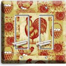 FRENCH FARM ROOSTER CHICKEN EGGS BASKET DOUBLE GFI LIGHT SWITCH WALL PLATE COVER