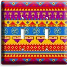LATIN AMERICAN SOUTHWEST AZTEC PATTERN DOUBLE LIGHT SWITCH WALL PLATE ROOM DECOR