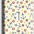 NAUTICAL ANCHORS SINGLE LIGHT SWITCH WALL PLATE BOYS BEDROOM NURSERY ROOM DECOR