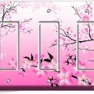 JAPANESE PINK SAKURA CHERRY FLOWERS BLOSSOM TRIPLE GFCI LIGHT SWITCH PLATE COVER