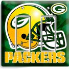 GREEN BAY PACKERS FOOTBALL DOUBLE GFCI LIGHT SWITCH WALL PLATE BOYS ROOM GARAGE