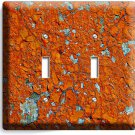 RUSTIC CRACKED RUST RUSTED DOUBLE LIGHT SWITCH WALL PLATE COVER HOME ROOM DECOR
