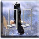 AMERICAN BALD EAGLE DOUBLE GFI LIGHT SWITCH WALL PLATE BEDROOM HOME OFFICE DECOR