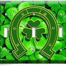 LUCKY CLOVER GOOD LUCK HORSESHOE TRIPLE LIGHT SWITCH WALL PLATE HOME HOUSE DECOR