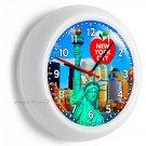 STATUE OF LIBERTY NYC SKYLINE BIG APPLE NEW YORK CITY MANHATTAN WALL CLOCK DECOR