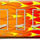 HOT ROD RED YELLOW ORANGE FLAMES TRIPLE GFI LIGHT SWITCH WALL PLATE COVER GARAGE