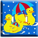 RUBBER DUCK SWIMMING UMBRELLA DUCK DOUBLE LIGHT SWITCH WALL PLATE COVER BATHROOM