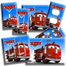 CARS RED FIRE TRUCK LIGHT SWITCH OUTLET WALL PLATE COVER BOYS BEDROOM ROOM DECOR