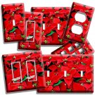 RED POINSETTIA CHRISTMAS FLOWERS LIGHT SWITCH WALL PLATE OUTLET ROOM HOME DECOR