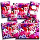 MIXED PETUNIA FLOWERS COLORFUL GARDEN LIGHT SWITCH WALL PLATE OUTLET HOME DECOR