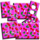 RED HOT CHERRIES PINK POLKA DOTS LIGHT SWITCH OUTLETS WALL PLATE KITCHEN DECOR