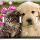CUTE KITTY CAT PUPPY DOG PINK FLOWERS TRIPLE LIGHT SWITCH WALL PLATE ROOM DECOR
