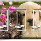 KITTY CAT PUPPY DOG PINK FLOWERS TRIPLE GFCI LIGHT SWITCH WALL PLATE ROOM DECOR