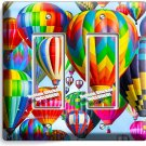VIBRANT HOT AIR BALLOONS DOUBLE GFCI LIGHT SWITCH PLATE HOME TRAVEL OFFICE DECOR