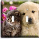CUTE KITTY CAT PUPPY DOG PINK FLOWERS DOUBLE LIGHT SWITCH WALL PLATE ROOM DECOR